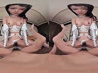 POV VR hardcore with perky titted petite Asian babe with hairy pussy